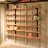 Sectional garage accessories like this shelf stack are available for the Lidget Compton garage interior.