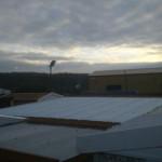 Garage rooftops at dusk