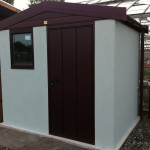 Textured shed with brown Pvcu fascias