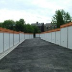 Battery Garages in white with timber